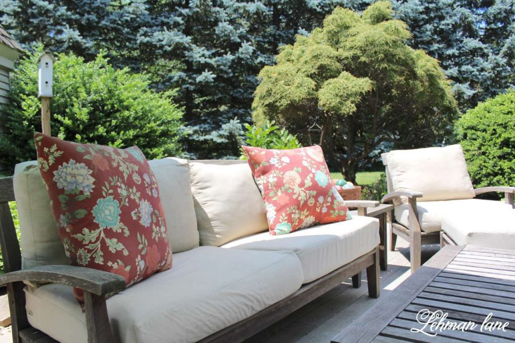 Summer garden tour - backyard deck - RH outdoor furniture found on Craigslist