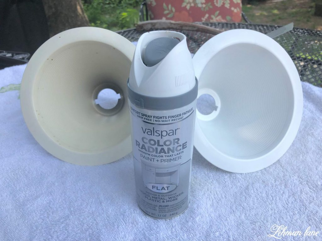How to Paint Recessed Lights - Did you know you can spray paint recessed lights?!  It is a simple and inexpensive way to update recessed lights and help make them look great! #recessedlights http://lehmanlane.net