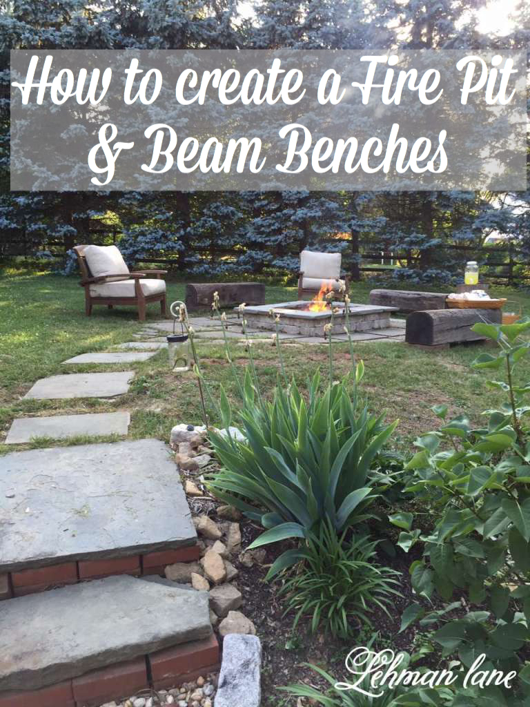 We doesn't love an outdoor fire? Come check out how we created a stone patio diy fire pit and wood beam benches!