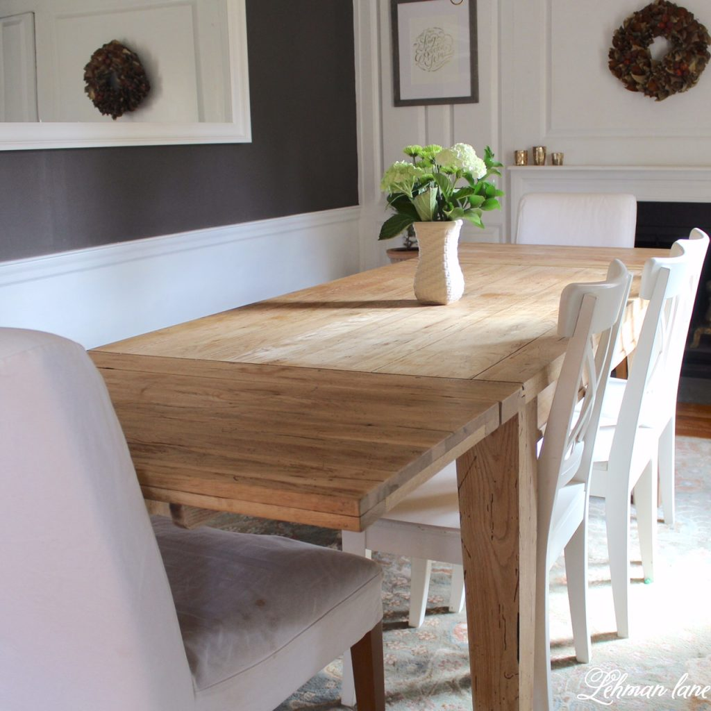 Come check out how we created a Restoration Hardware Inspired Farmhouse Table for FREE
