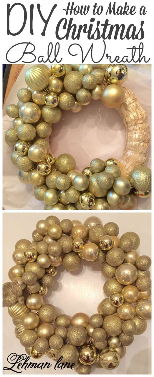 Making a Christmas Ball Wreath is super easy and can be made in just a few hours!!! #christmas #wreath http://lehmanlane.net