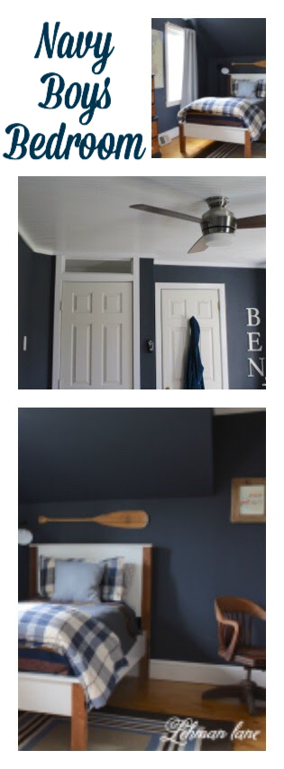 We transformed our son's boring bedroom with a lot of navy and DIY projects come see what we did!