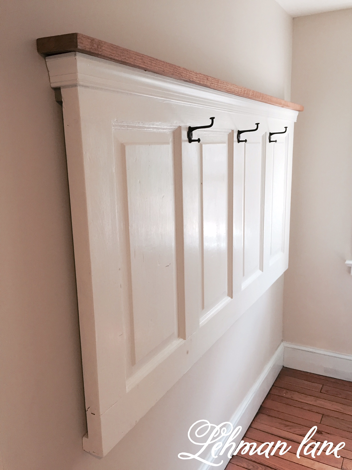 DIY: Old Door Turned Coat Rack - Lehman Lane