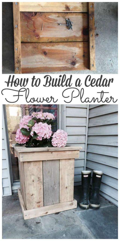 Sharing how we built a cedar flower planter out of cedar scrap wood after building a fence. Stop by to see how we did it #planter #flowerplanter #diy http://lehmanlane.net