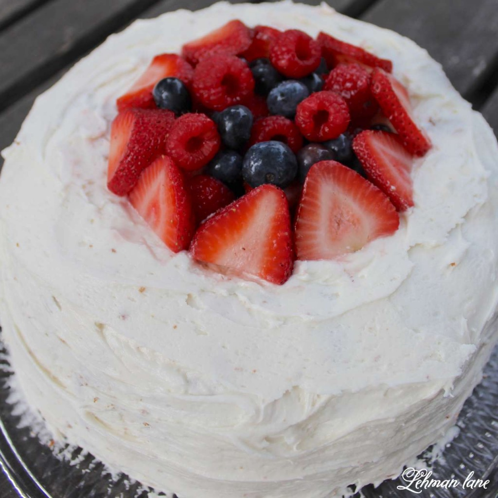 Old fashioned pound cake with fresh fruit for the 4th of July