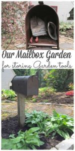 A mailbox garden is a great spot t keep your gardening tools close by without losing them in an cluttered garage or garden shed. And it looks pretty too! #mailboxgarden #mailbox #gardening #toolstorage http://lehmanlane.net