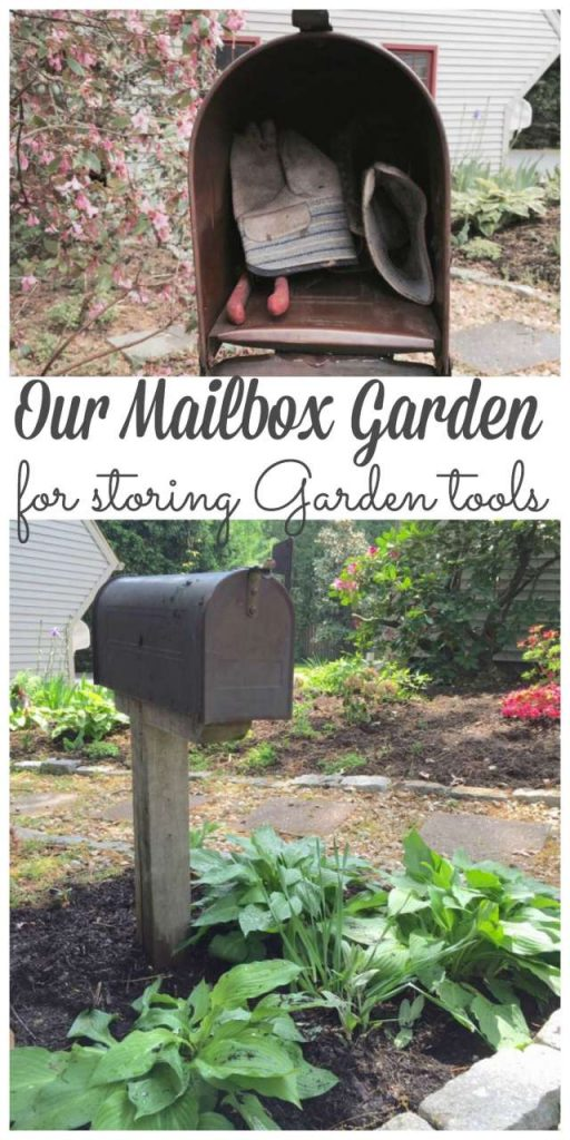 A mailbox garden is a great place to keep your gardening tools close by without losing them in an cluttered garage or garden shed. And it looks pretty too! #mailboxgarden #mailbox #gardening #toolstorage http://lehmanlane.net