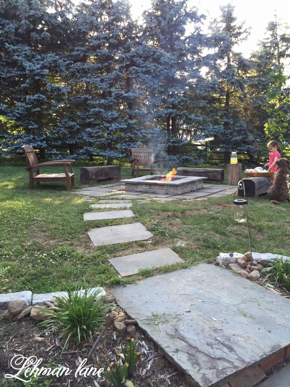 Stone Patio Diy Fire Pit Amp Wood Beam Benches Lehman Lane