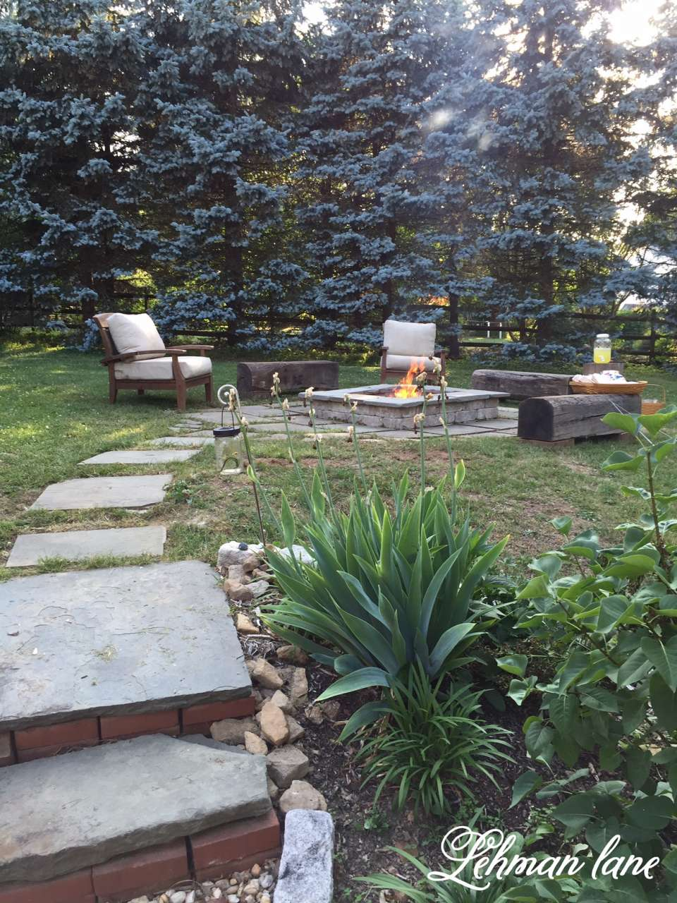Tremendous Stone Patio Diy Fire Pit Wood Beam Benches Lehman Lane Frankydiablos Diy Chair Ideas Frankydiabloscom