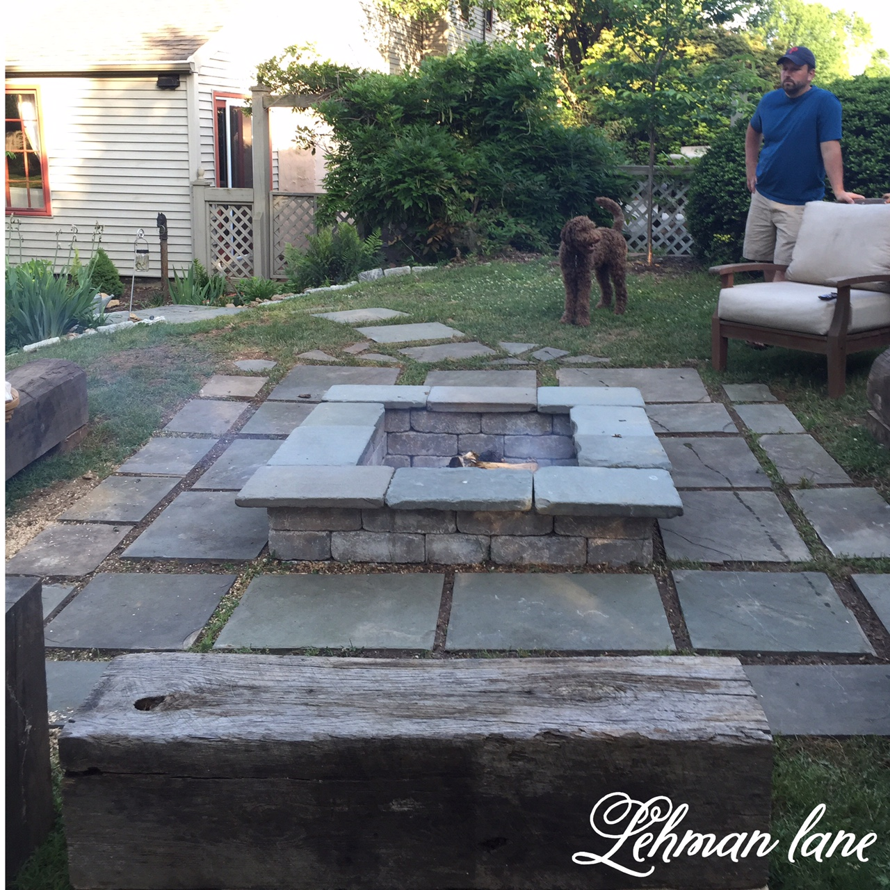 DIY : Stone Patio Fire Pit U0026 Beam Benches