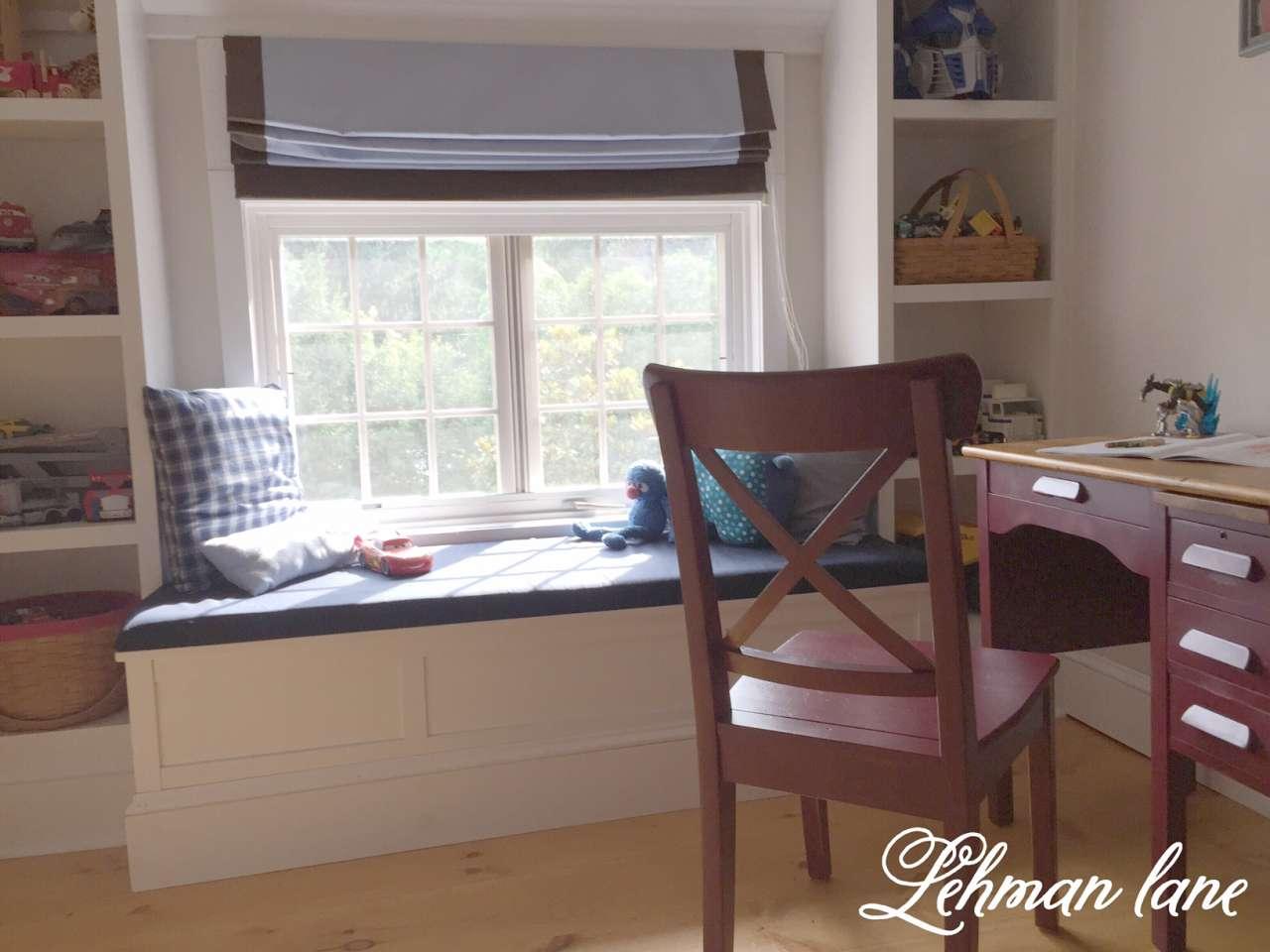 Tucker's red desk furniture redo