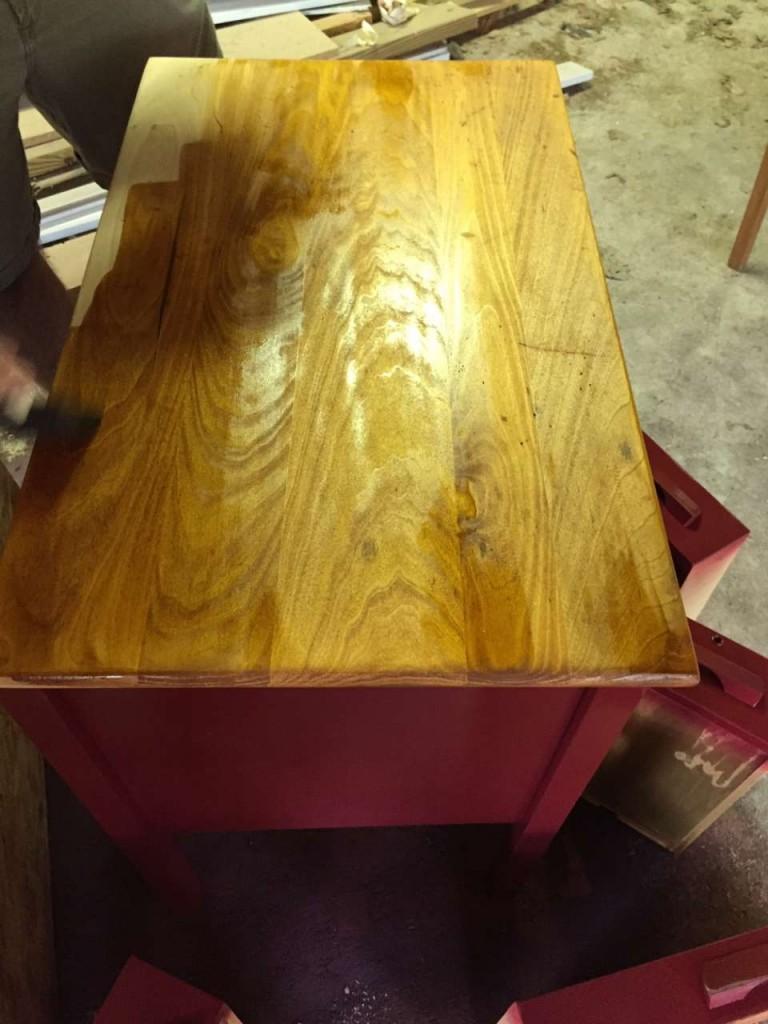 Tucker's red desk