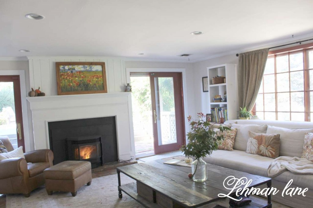 Fall Home tour / family room / fireplace / restoration hardware sofa coffee table / pottery barn pillows