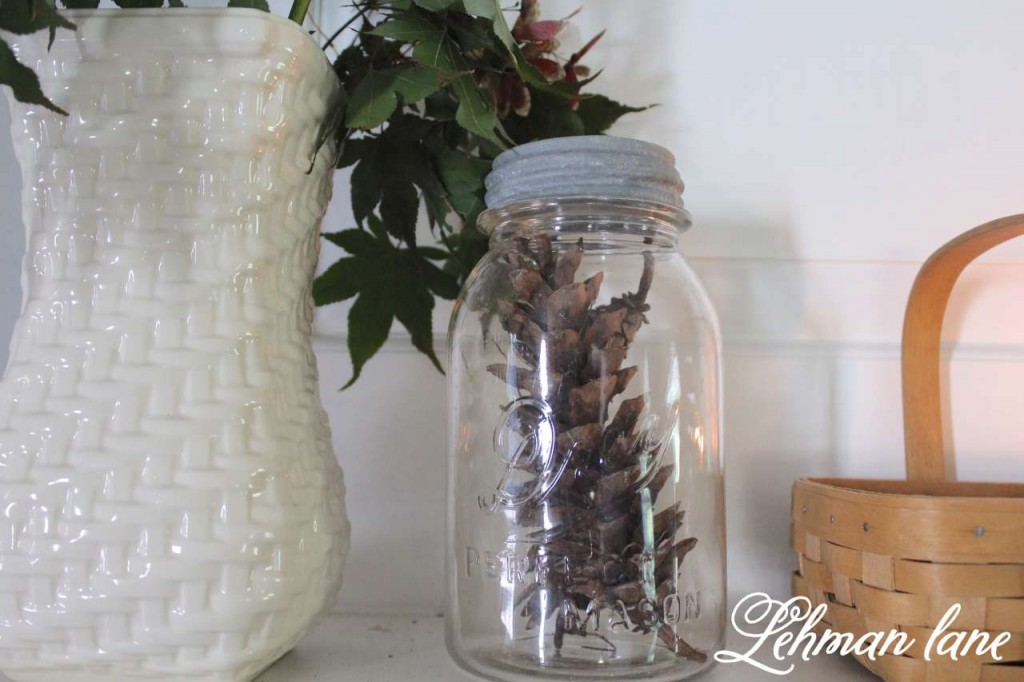 Fall home tour /8 ways to beautiful decorate for fall on a budget / pine cone / ball jar
