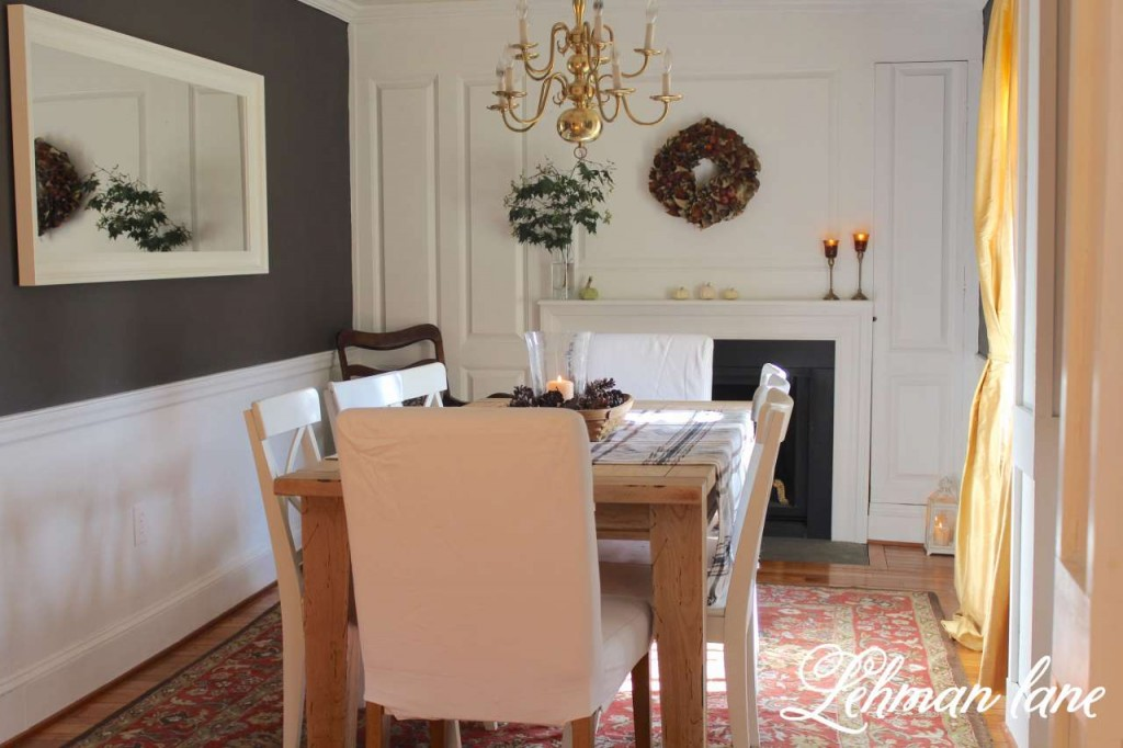 fall home tour / dining room / fireplace