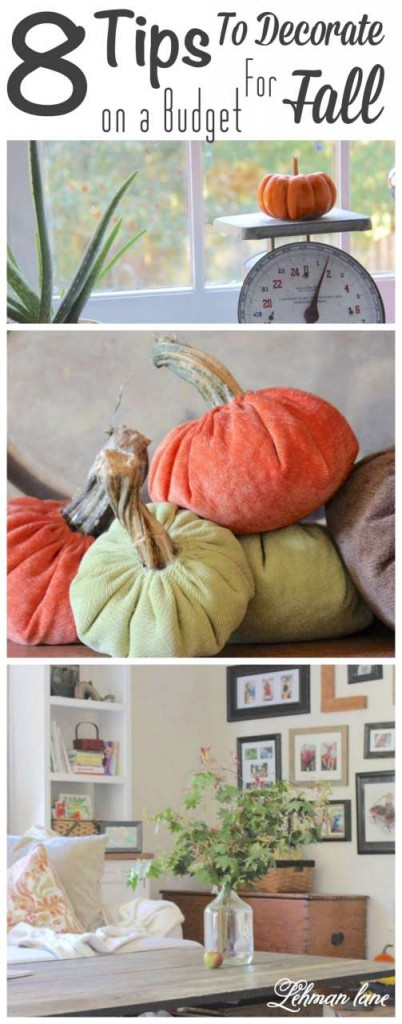 If you are struggling to find ways to decorate on a small or no budget stop by to check out my 8 tips for fall decorating on a budget! #fall http://lehmanlane.net