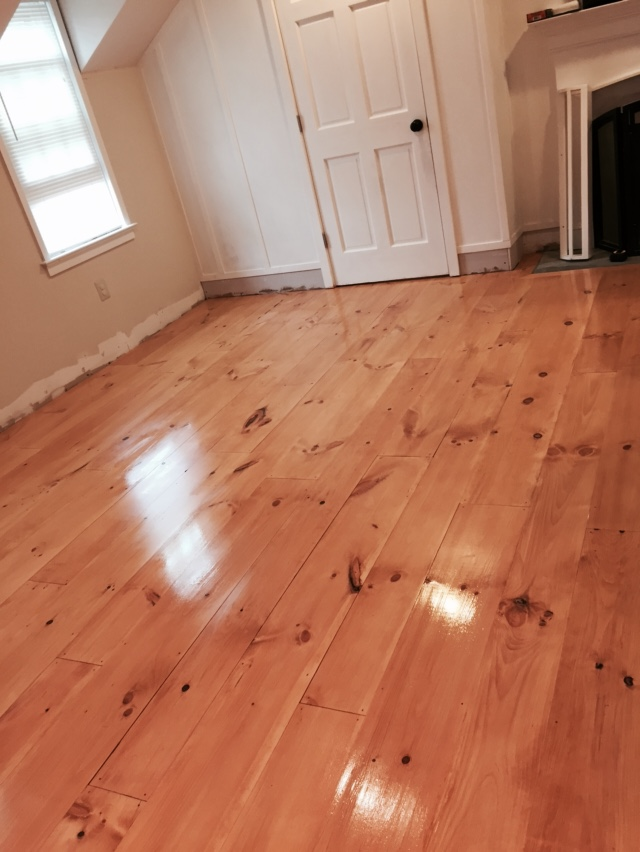 DIY Wide Pine Floors & a Review, staining and polyurentane