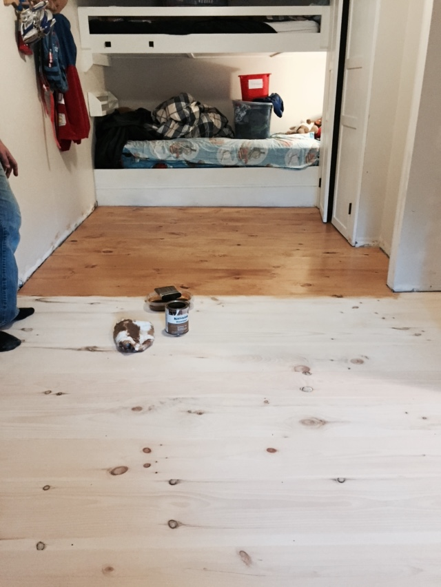 DIY Wide Pine Floors & a Review, staining floors, summer oak