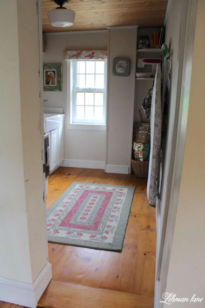 DIY Wide Pine Floors & a Review, laundry room, bead board ceiling