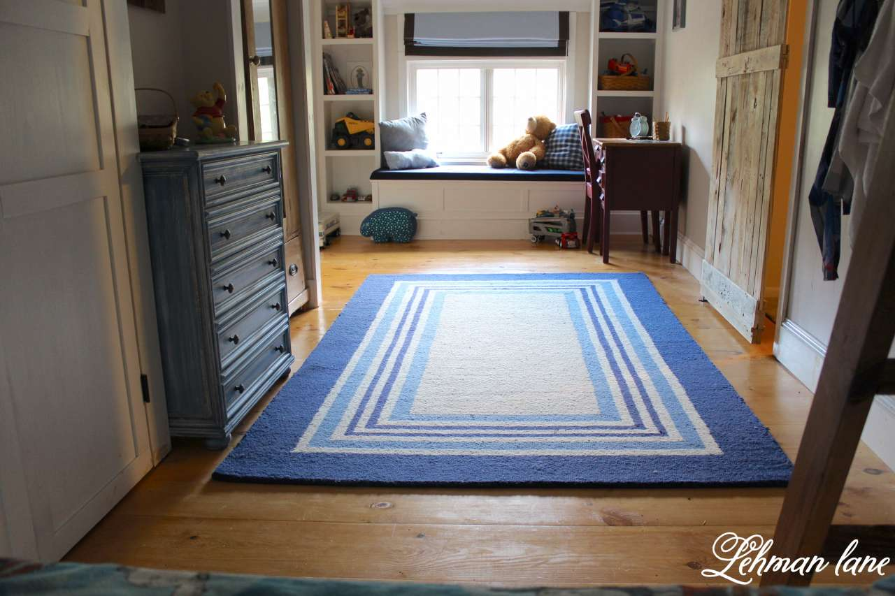 DIY Wide Pine Floors & a Review, boys room, pallet door, blue, window seat, bookcase