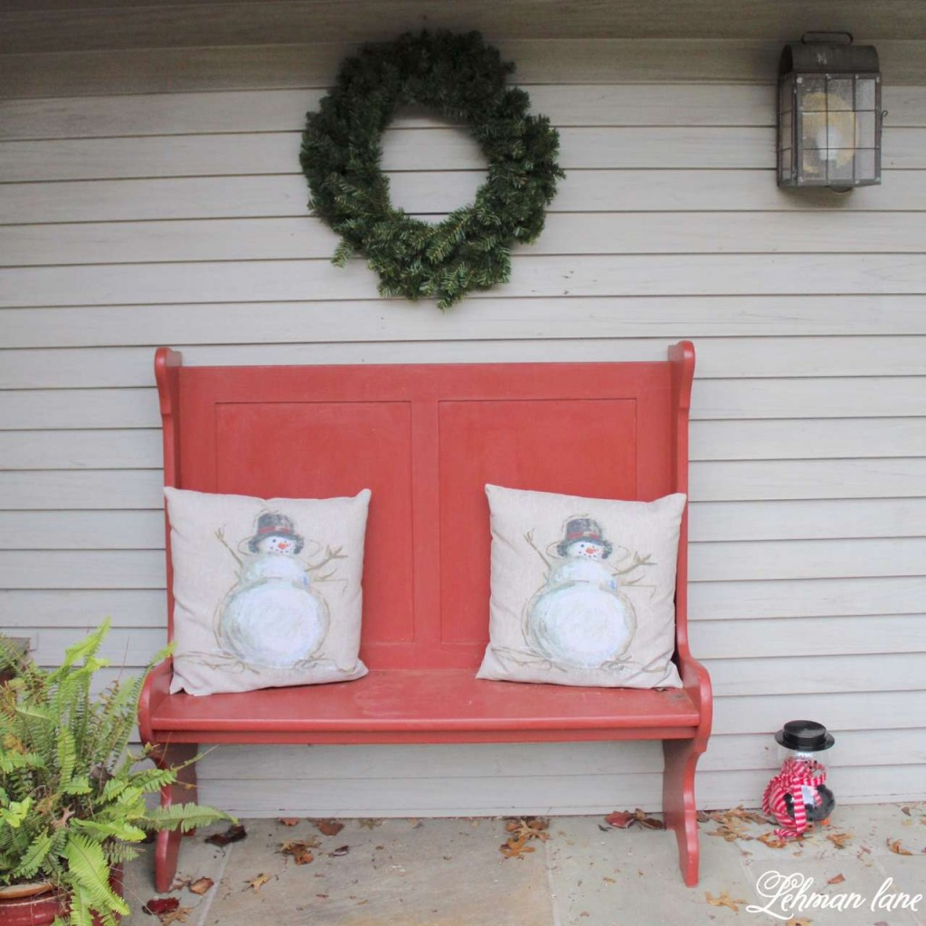 Christmas Home Tour 2015 red bench snowman pillow