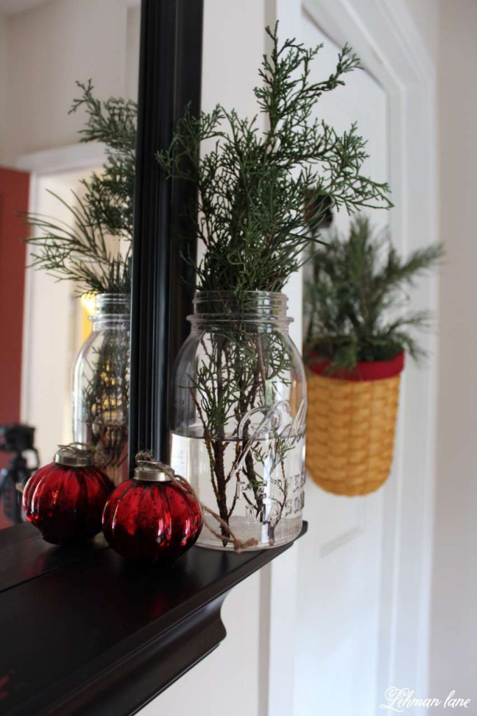 Christmas Home Tour 2015 red greens in ball jar basket