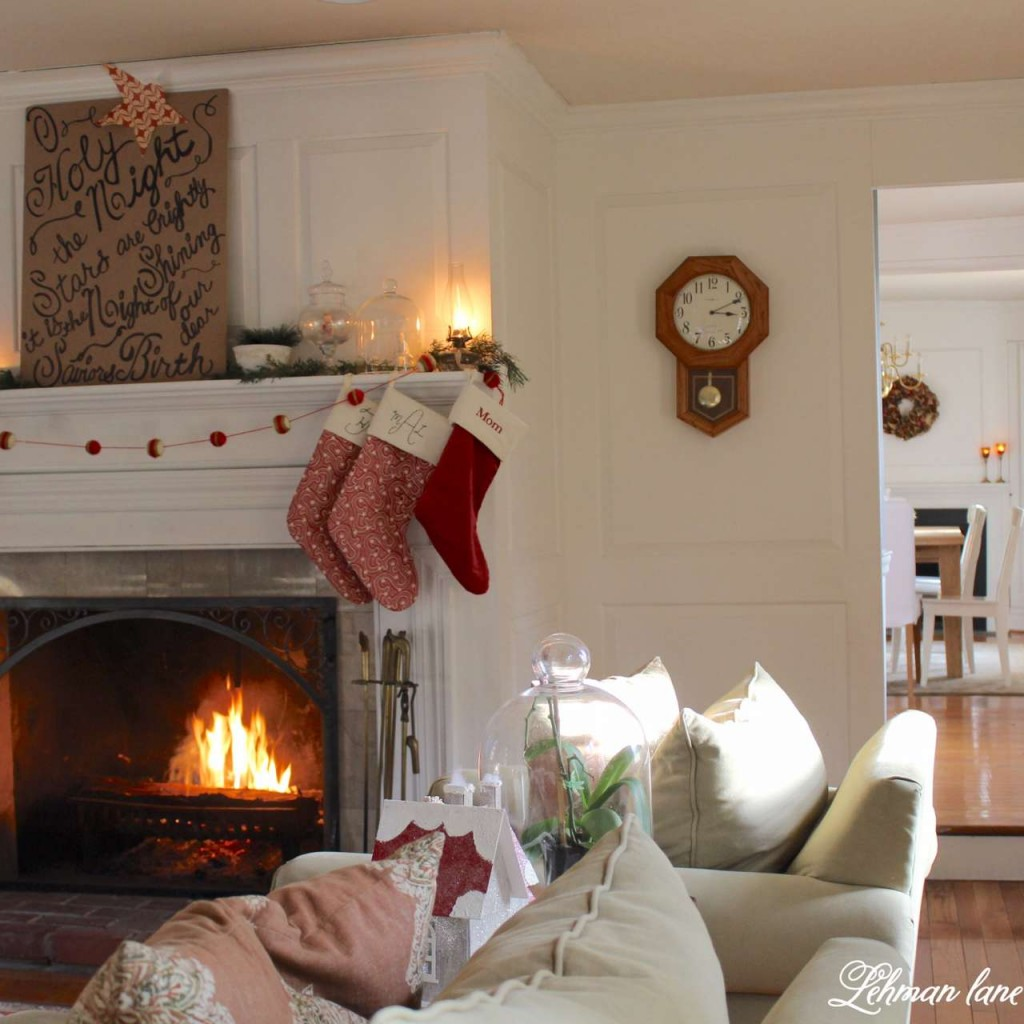 Christmas Home Tour 2015 O Holy night red stockings fireplace greens living room fire