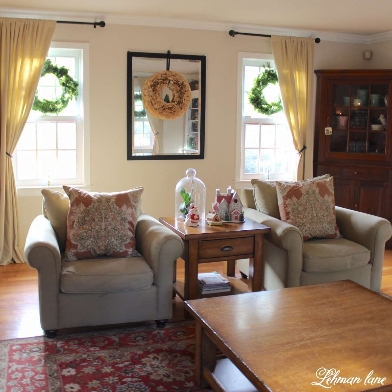 Christmas Home Tour 2015 living room bookpage wreath in window