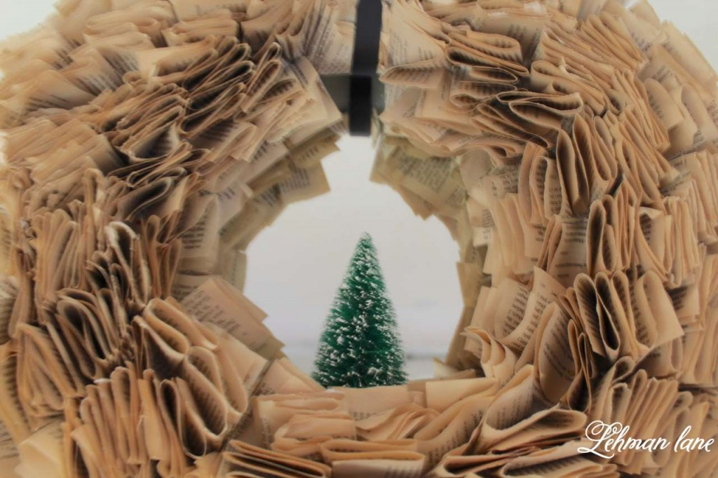 Christmas Home Tour 2015 bookpage wreath bottle brush tree