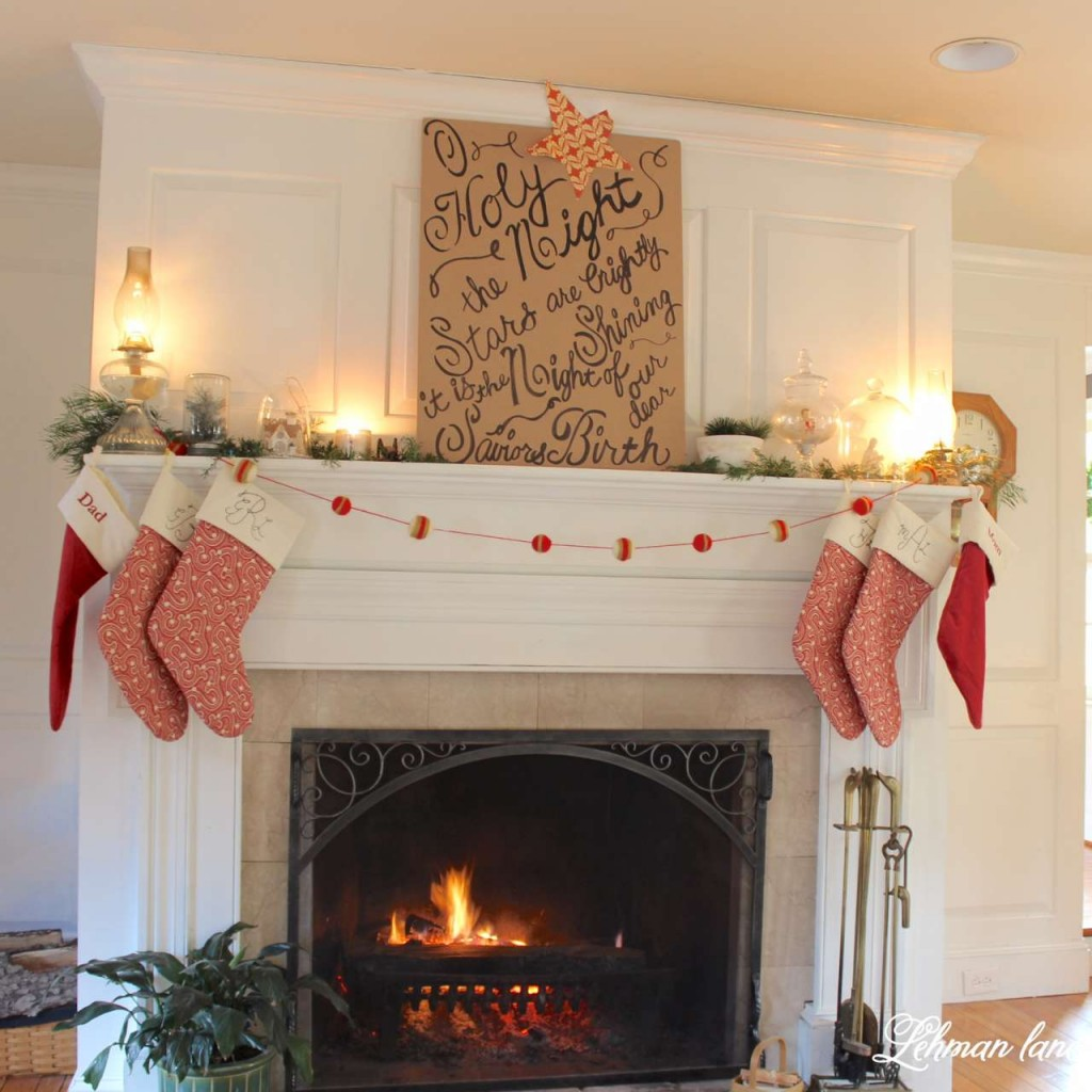 Christmas Home Tour 2015 O Holy night red stockings fireplace greens