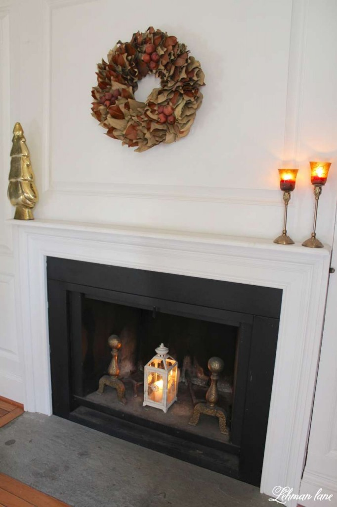 Christmas Home Tour 2015 dining room magnolia wreath candle fireplace