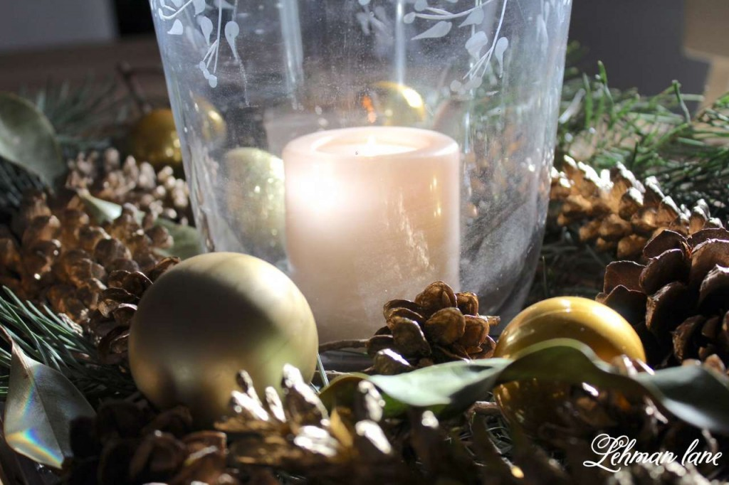 Christmas Home Tour 2015 candle pine cone greens