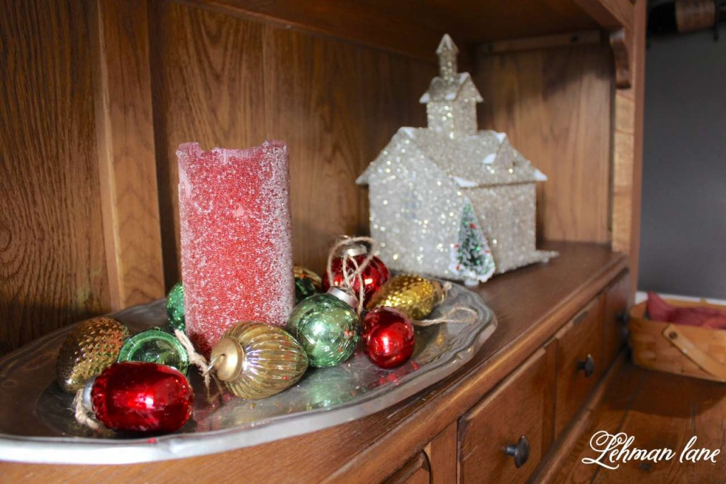 Christmas Home Tour 2015 Pottery barn glitter house candle bulbs