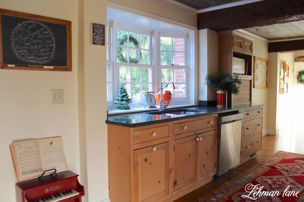 Christmas Home Tour 2015 kitchen piano chalkboard red rug beam sink scale