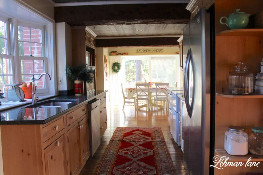 Christmas Home Tour 2015 kitchen red rug beam