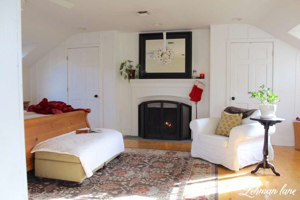 Christmas Home Tour 2015 master bedroom fireplace stocking white wreath