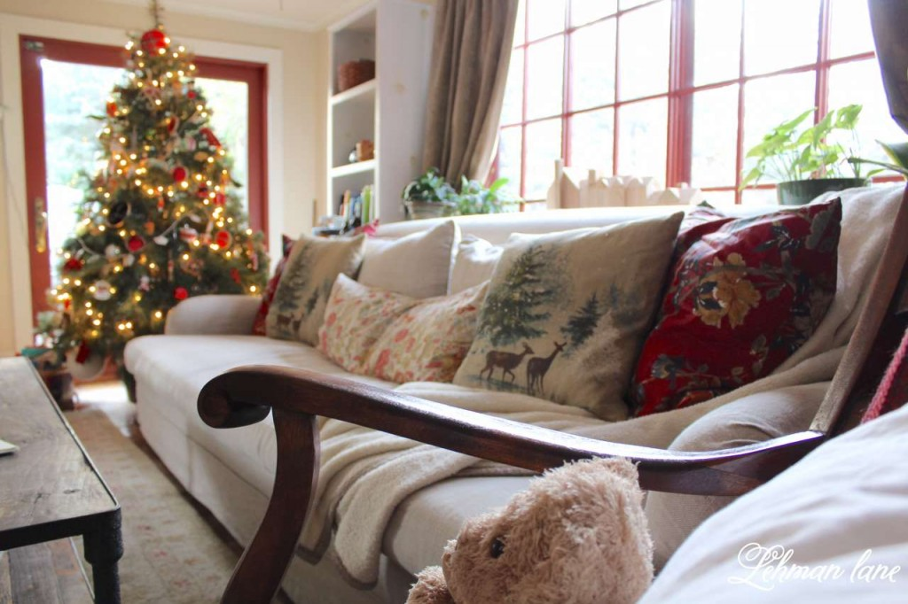 Christmas Home Tour 2015 tree RH sofa PB pillows