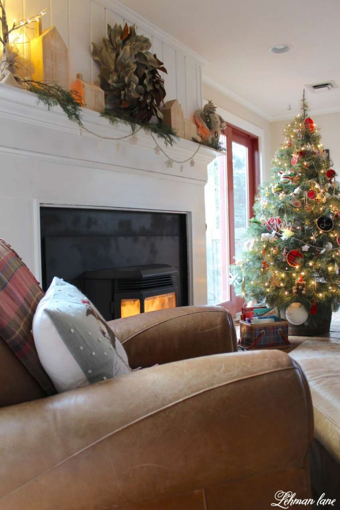 Christmas Home Tour 2015 leather chair fireplace mantel tree
