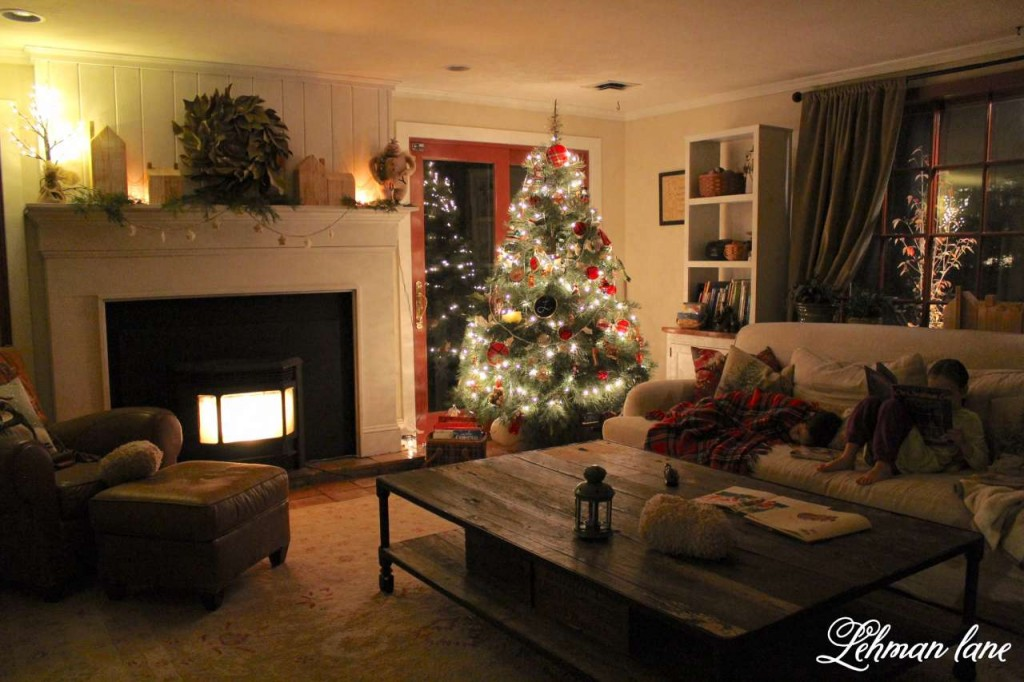 Christmas Home Tour 2015 night light fireplace tree