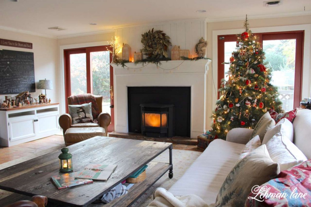Christmas Home Tour 2015 family room tree Pottery barn pillows Rh sofa coffee table leather chair magnolia wreath lantern