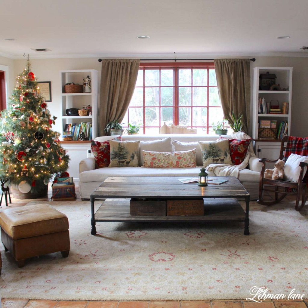 Christmas Home Tour 2015 family room tree Pottery barn pillows Rh sofa coffee table