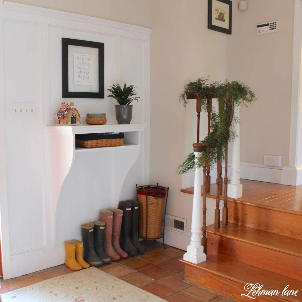 Christmas home tour 2015 foyer weber boots stairs greens gingerbread house