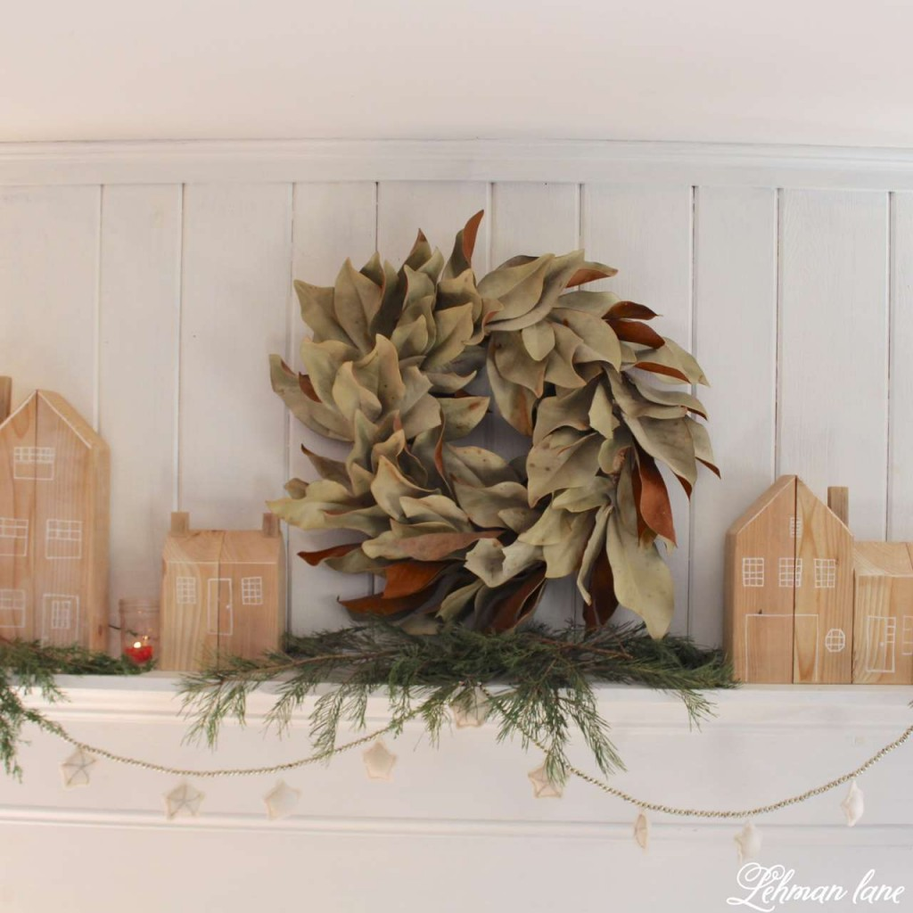 DIY - Cedar post houses for Christmas - Home for Christmas Hop / Magnolia Wreath