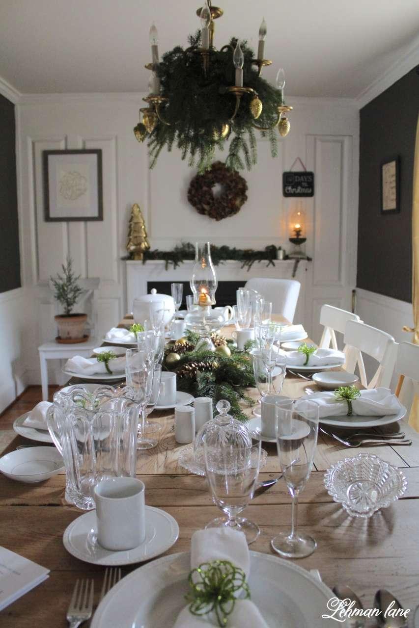 green & gold christmas dining room - lehman lane