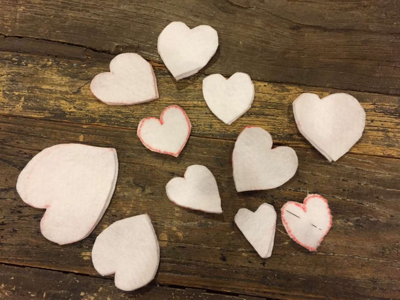 Valentine decor - white felts hearts