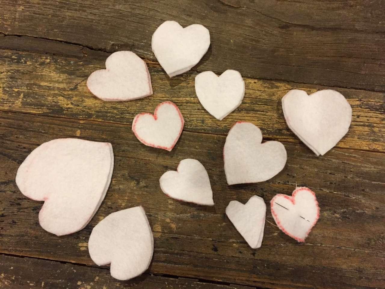 Valentine decor - white felts hearts