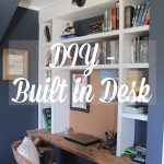 We added a built in desk to our son's bedroom using two scrap boards we found in our garage.