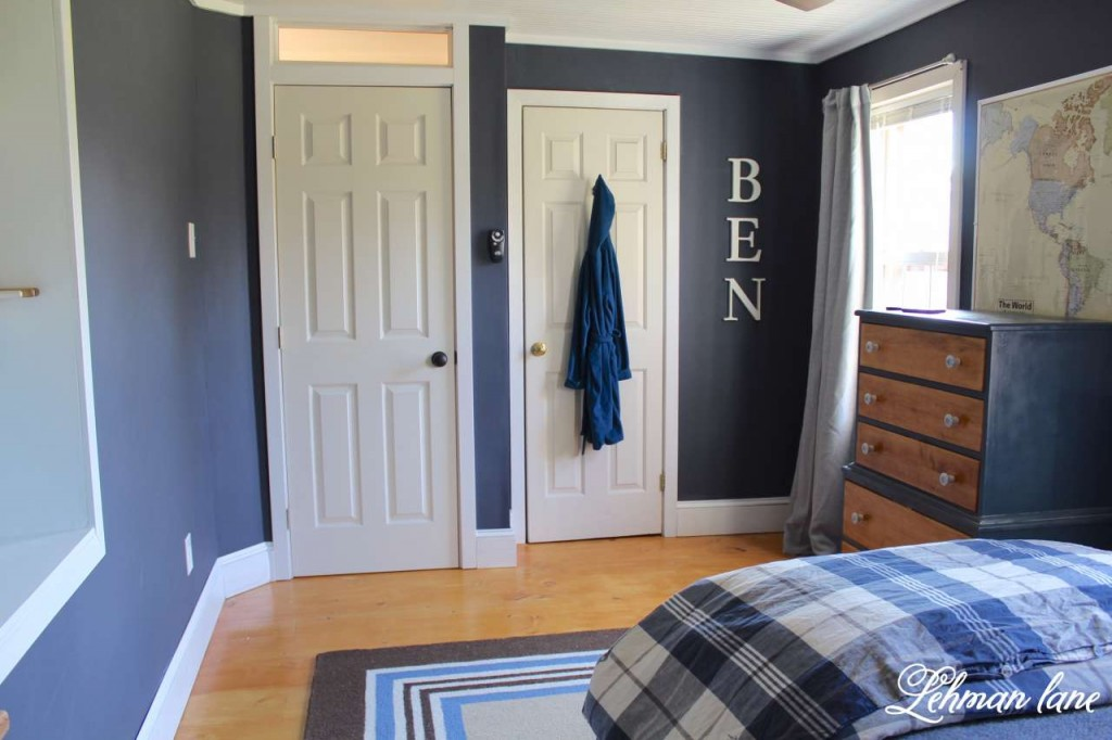 Come check out navy boys bedroom reveal. We completed gutted the room and added new ceiling, new floors, paint, built in desk and a new doorway.