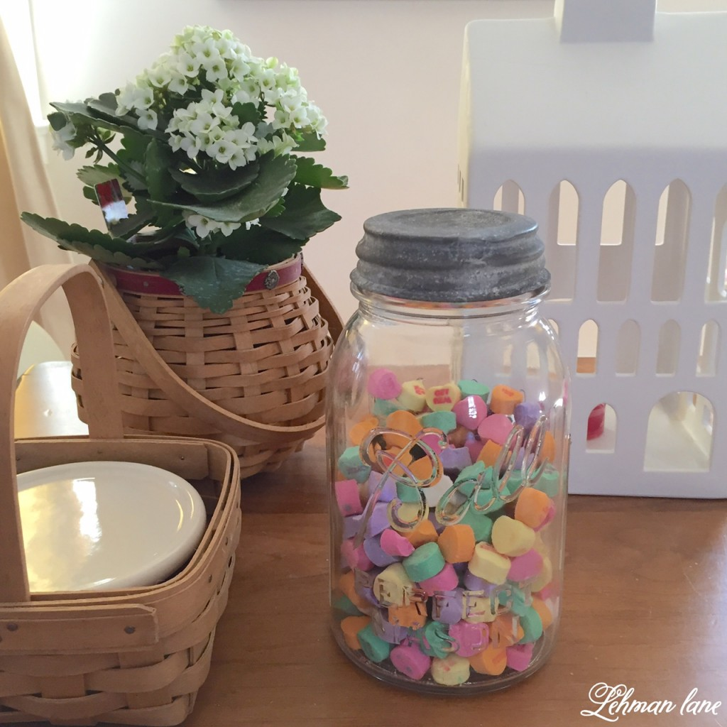 Come check out my Valentine's day decor and check out what my friends created for our blog hop! conversation hearts inside a mason jar