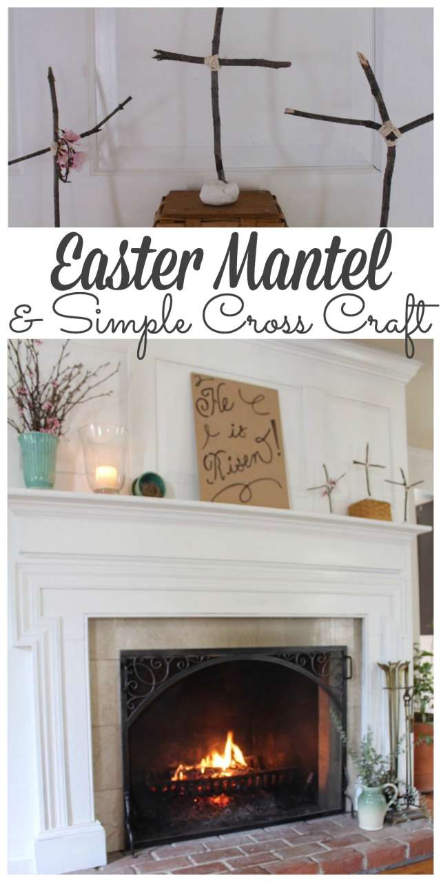 I made a simple cross craft to add to my Easter Mantel #easter #manteldecor #spring http://lehmanlane.net